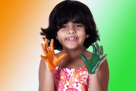 Portrait of a young girl with colored palms