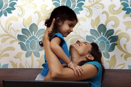 single parent: Mother and daughter having fun