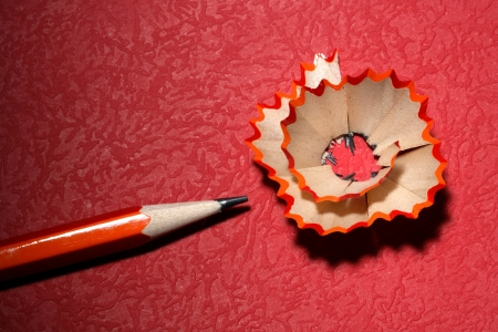 Pencil and wood shaving photo