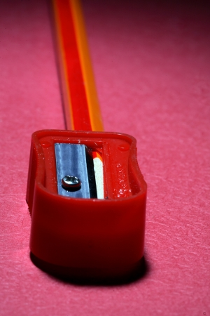 Close-up of a pencil and a sharpener photo