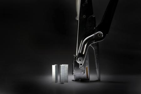 Steel stapler with metal staples Standard-Bild