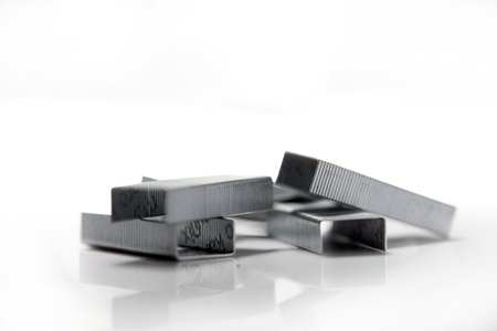 Stack of metal staples