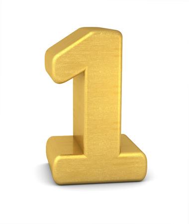 number 1: 3d number 1 gold