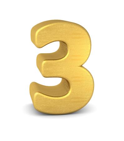 text 3d: 3d number 3 gold