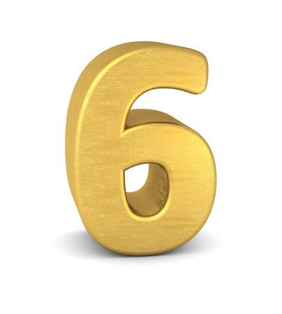 3d number 6 gold Zdjęcie Seryjne