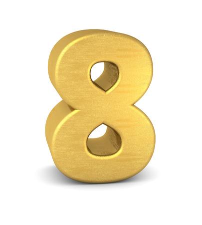 3d number 8 gold