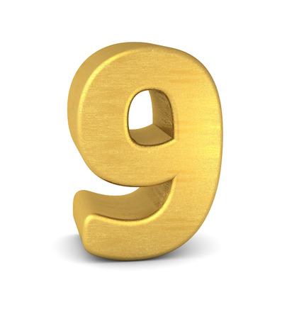 text 3d: 3d number 9 gold