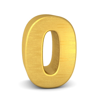 gold: 3d number 0 gold Stock Photo