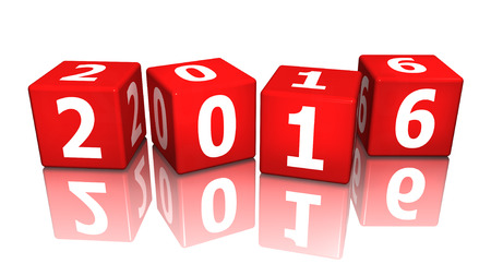 turn of the year: cube 2016 3d Stock Photo