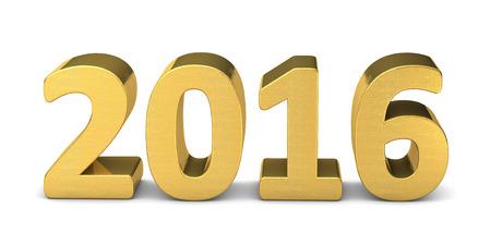 new year text gold 2016 3D Zdjęcie Seryjne