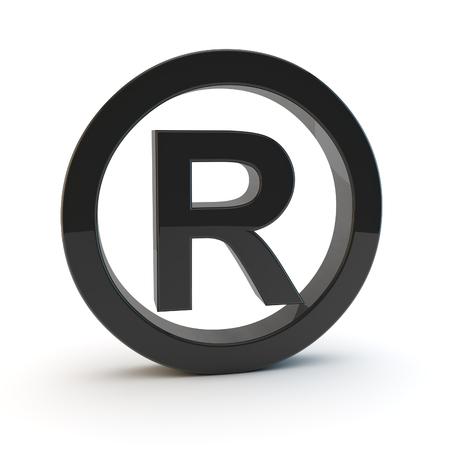 trademark: 3d black trademark symbol