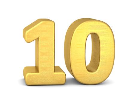 3d number 10 gold Banco de Imagens