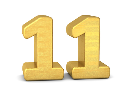 3d number 11 gold Stock Photo