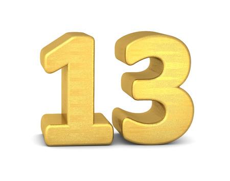 text 3d: 3d number 13 gold