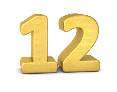 text 3d: 3d number 12 gold Stock Photo