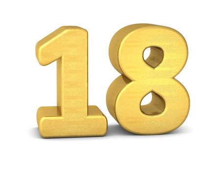 nombre d or: 3d numéro 18 or Banque d'images