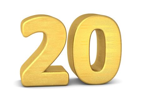3 d の数 20 ゴールド 写真素材