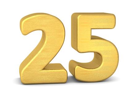 3d number 25 gold