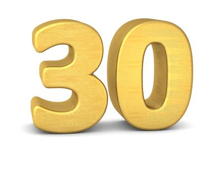 3d number 30 gold Banco de Imagens