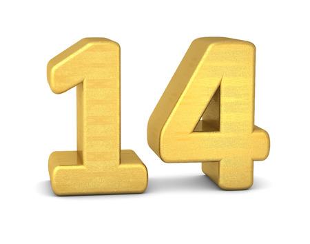 number 14: 3d number 14 gold