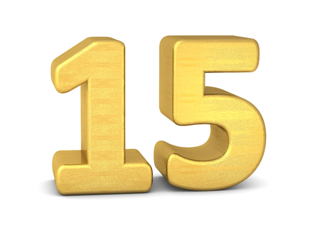 tridimensional: 3d number 15 gold