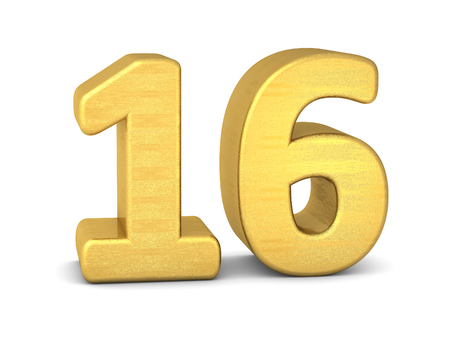 number 16: 3d number 16 gold Stock Photo