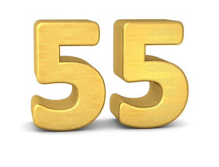 tridimensional: 3d number 55 gold Stock Photo