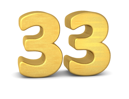 text word: 3d number 33 gold