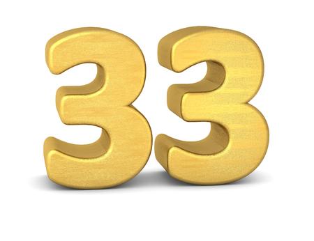 3d text: 3d number 33 gold