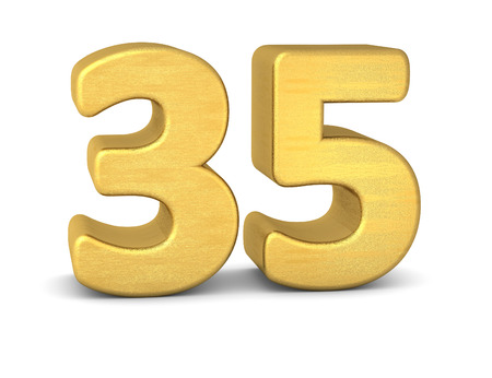 text word: 3d number 35 gold