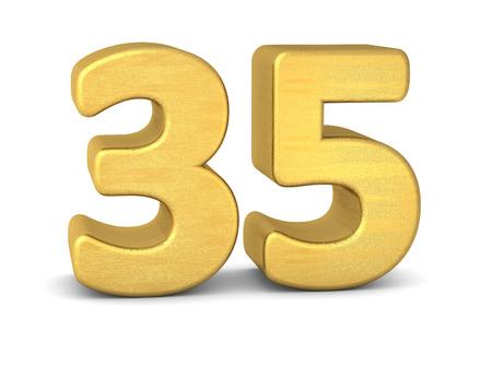 3d text: 3d number 35 gold