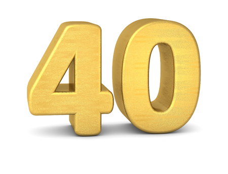 3d nummer 40 goud Stockfoto