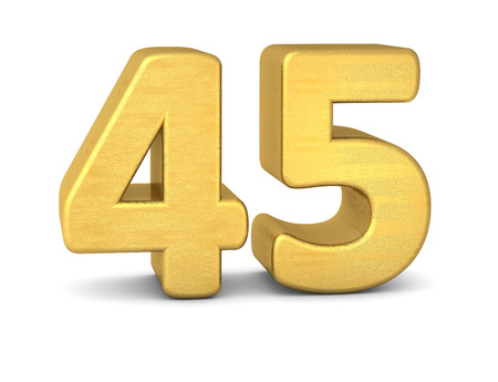 text word: 3d number 45 gold