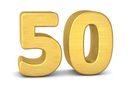 3d nummer 50 goud Stockfoto