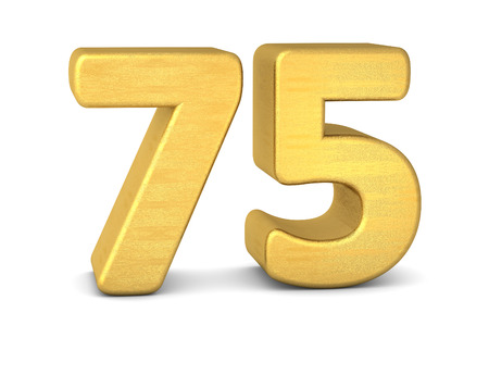 cipher: 3d number 75 gold Stock Photo