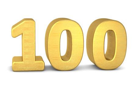 3d number 100 gold Zdjęcie Seryjne