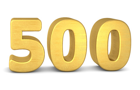 tridimensional: 3d number 500 gold