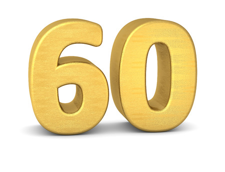 sixty: 3d number 60 gold