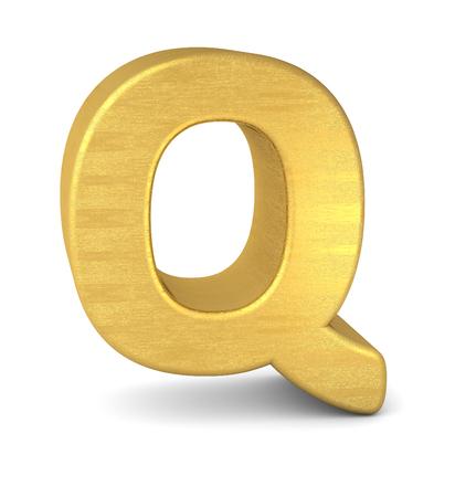 letter q: 3d letter Q gold