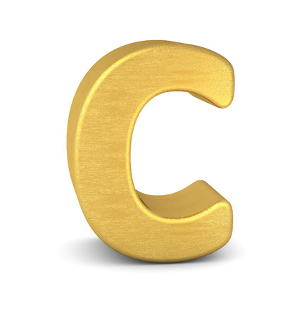 letter: 3d letter C gold Stock Photo