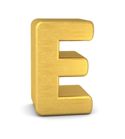letter e: 3d letter E gold