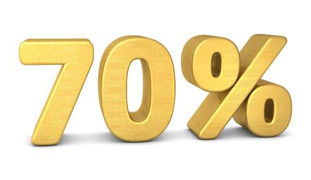 70: 70 percent symbol 3d rendering gold