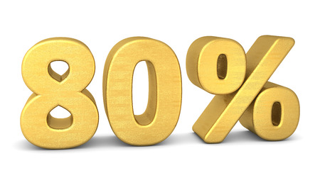percentage sign: 80 percent symbol 3d rendering gold