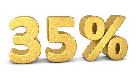35: 35 percent symbol 3d rendering gold Stock Photo