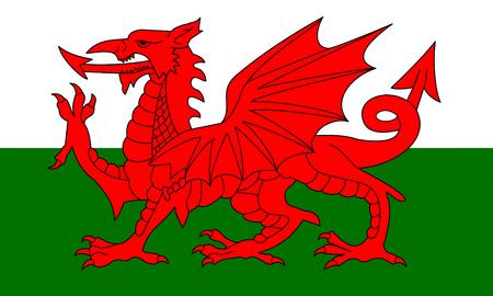 フラット ウェールズの旗風に