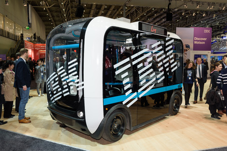 Hannover, Germany - March 22, 2017: Self-driving bus Olli on the IBM booth at the CeBIT 2017. CeBIT is the worlds largest trade fair for information technology. Publikacyjne