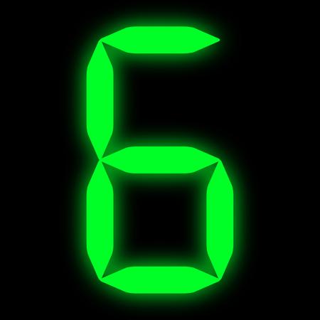 green led digit 6 Stock Photo