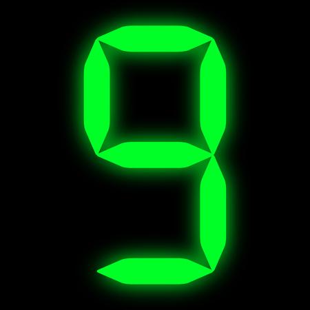 green led digit 9