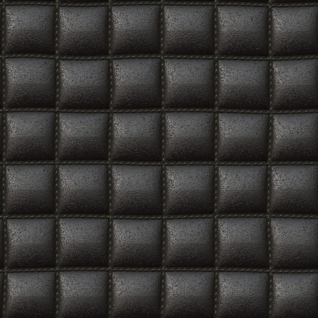padded: black pillow leather texture seamless 3D illustration Stock Photo