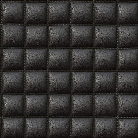 zwarte kussen leer textuur naadloze 3D illustratie